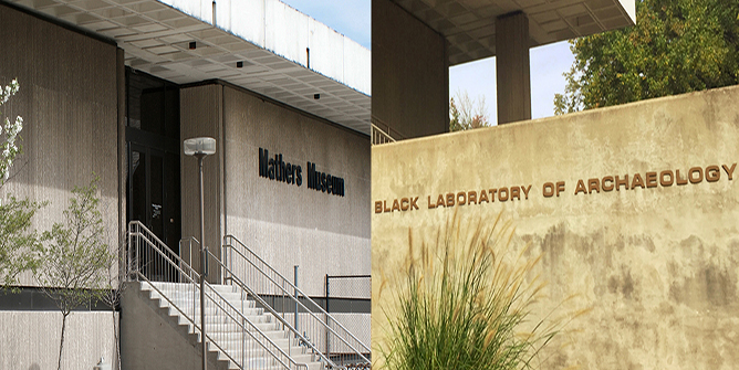 Collage of Mathers Museum and Glenn A. Black Laboratory of Archaeology signs